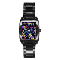 Decorative abstract design Stainless Steel Barrel Watch