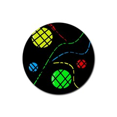 Colorful design Rubber Round Coaster (4 pack)