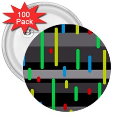 Colorful pattern 3  Buttons (100 pack)