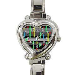 Colorful pattern Heart Italian Charm Watch