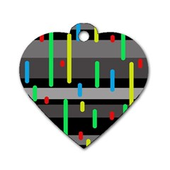 Colorful pattern Dog Tag Heart (One Side)