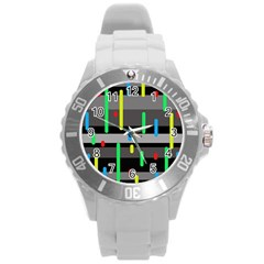 Colorful pattern Round Plastic Sport Watch (L)