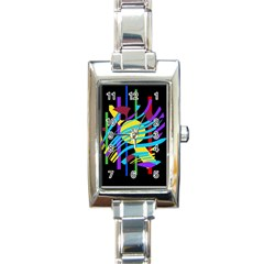 Colorful abstract art Rectangle Italian Charm Watch