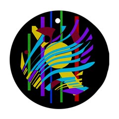 Colorful abstract art Ornament (Round)