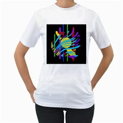 Colorful abstract art Women s T-Shirt (White) (Two Sided)