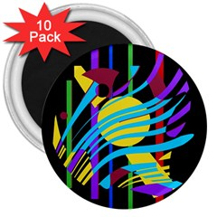 Colorful abstract art 3  Magnets (10 pack)