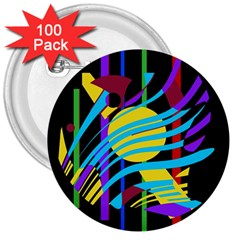 Colorful abstract art 3  Buttons (100 pack)