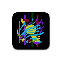 Colorful abstract art Rubber Coaster (Square)