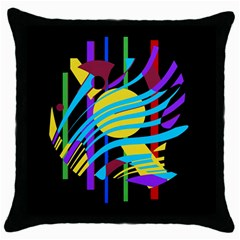 Colorful abstract art Throw Pillow Case (Black)