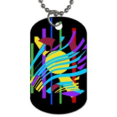 Colorful abstract art Dog Tag (One Side)