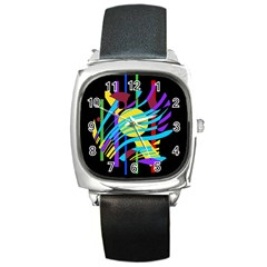 Colorful abstract art Square Metal Watch