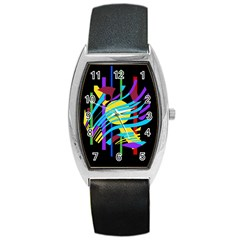 Colorful abstract art Barrel Style Metal Watch