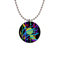 Colorful abstract art Button Necklaces