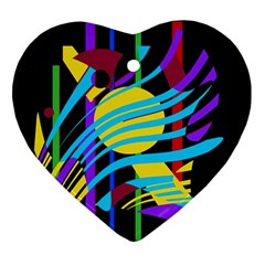 Colorful abstract art Heart Ornament (2 Sides)