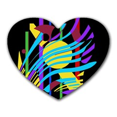Colorful abstract art Heart Mousepads