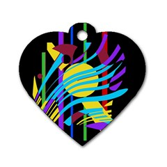 Colorful abstract art Dog Tag Heart (One Side)