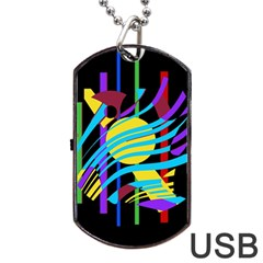 Colorful abstract art Dog Tag USB Flash (Two Sides)