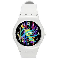 Colorful abstract art Round Plastic Sport Watch (M)