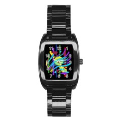 Colorful abstract art Stainless Steel Barrel Watch