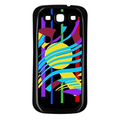 Colorful abstract art Samsung Galaxy S3 Back Case (Black)