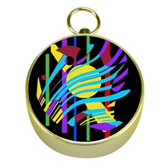 Colorful abstract art Gold Compasses