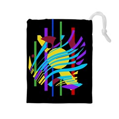 Colorful abstract art Drawstring Pouches (Large)