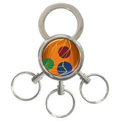 Orange abstraction 3-Ring Key Chains