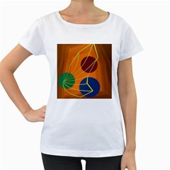Orange abstraction Women s Loose-Fit T-Shirt (White)