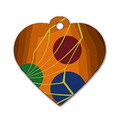Orange abstraction Dog Tag Heart (One Side)