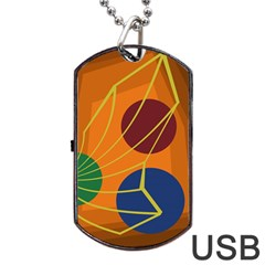 Orange abstraction Dog Tag USB Flash (One Side)