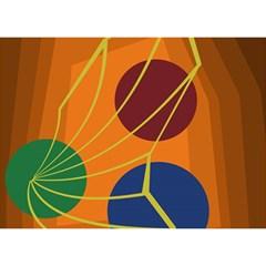 Orange abstraction Birthday Cake 3D Greeting Card (7x5)