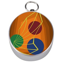 Orange abstraction Silver Compasses