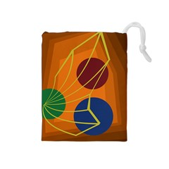 Orange abstraction Drawstring Pouches (Medium)