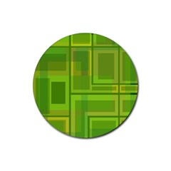Green pattern Rubber Coaster (Round)
