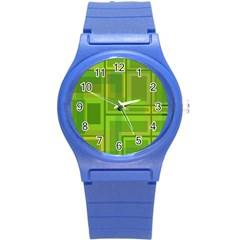 Green pattern Round Plastic Sport Watch (S)