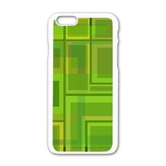 Green pattern Apple iPhone 6/6S White Enamel Case