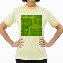Green pattern Women s Fitted Ringer T-Shirts