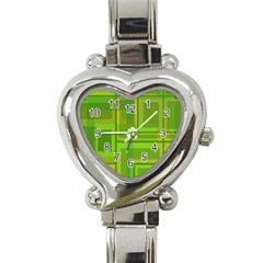 Green pattern Heart Italian Charm Watch