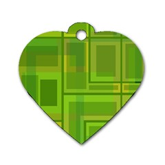 Green pattern Dog Tag Heart (Two Sides)