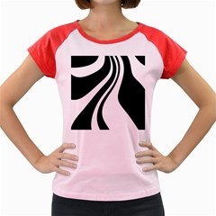 Black and white pattern Women s Cap Sleeve T-Shirt