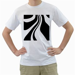 Black and white pattern Men s T-Shirt (White) (Two Sided)