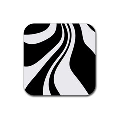 Black and white pattern Rubber Square Coaster (4 pack)