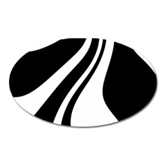 Black and white pattern Oval Magnet