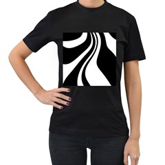 Black and white pattern Women s T-Shirt (Black) (Two Sided)