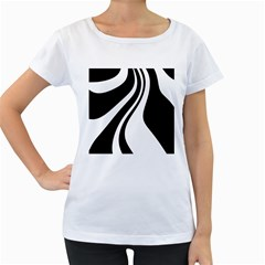 Black and white pattern Women s Loose-Fit T-Shirt (White)
