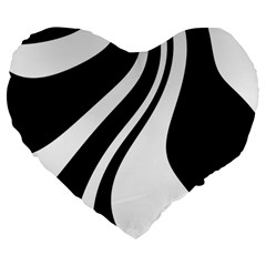 Black and white pattern Large 19  Premium Heart Shape Cushions