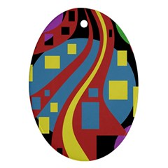 Colorful abstrac art Ornament (Oval)