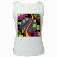 Colorful abstrac art Women s White Tank Top