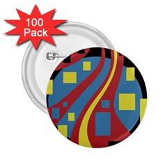 Colorful abstrac art 2.25  Buttons (100 pack)