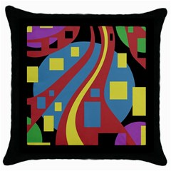 Colorful abstrac art Throw Pillow Case (Black)